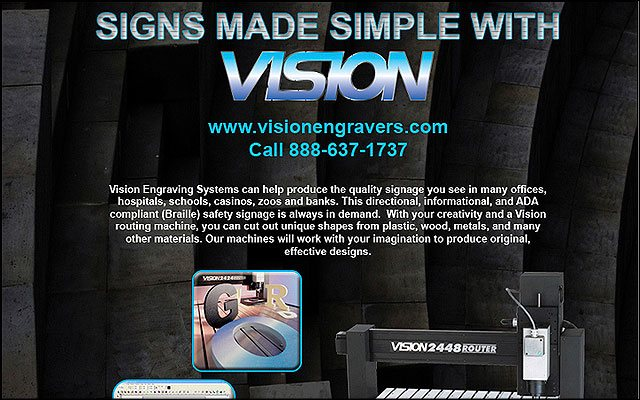 Preview of of Vision engravers email / print ad project.